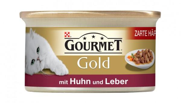 GOURMET Gold Zarte Häppchen in Sauce mit Huhn und Leber 85g