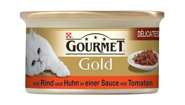 GOURMET Gold Délicatesse en Sauce mit Rind und Huhn in Tomatensauce 85g